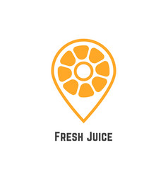 fresh juice with orange like map pin vector image vector image