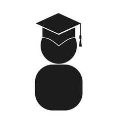 Graduate sign black icon on vector