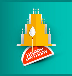 Happy birthday card with paper cut cake on blue vector