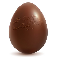 happy easter brown chocolate egg on white vector image vector image