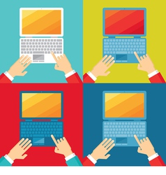 Human hands and computer notebook vector image