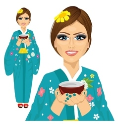 Japanese pretty woman holding cup of green tea vector