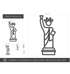Liberty statue line icon vector