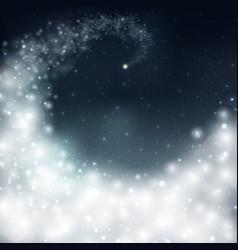 Magical christmas bright white aura in dark sky vector