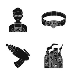 Man young glasses and other web icon in black vector