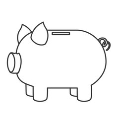monochrome silhouette of moneybox in shape of pig vector image vector image