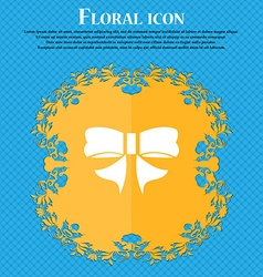 Ribbon bow icon sign floral flat design on a blue vector