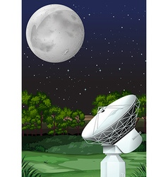 Scene with satellite dish at night vector
