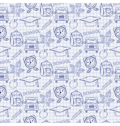 Seamless school pattern with varios elements on vector image