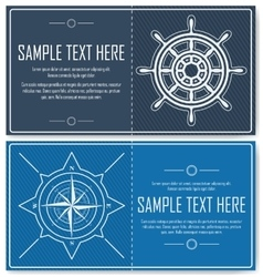 Set of blue nautical flyers vector