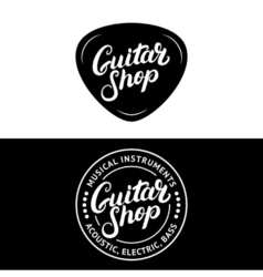 Set of guitar shop hand written lettering logos vector