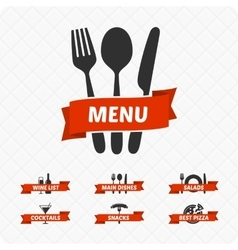 Set of restaurant signs symbols logo vector image vector image