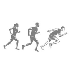 Set of runners silhouettes men and woman run race vector