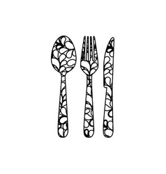 Silhouette cutlery printed floral design vector