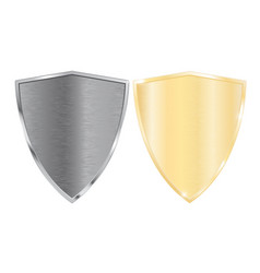 silver and golden shields vector image