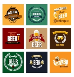 Vintage beer labels and emblems collection vector
