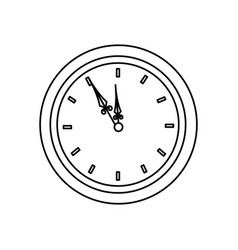 Vintage clock time round design outline vector