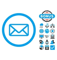 Envelope flat icon with bonus vector