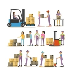 Set of delivery man characters isolated on vector