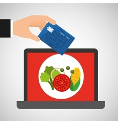 Shopping online concept order organic food vector