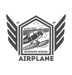 Airplane vintage isolated label vector