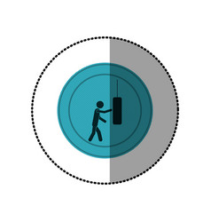 Blue symbol person knocking punching bag vector