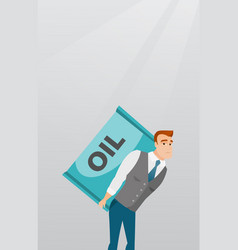 Business man carrying oil barrel on back vector