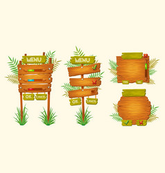 set of cartoon wooden signs of various vector image