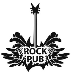 Banner for rock pub with guitar and wings vector