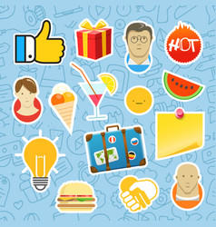 Different mobile or web application stickers set vector