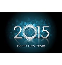 2015 Happy New Year background with silver clock vector image