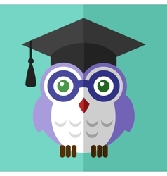 Graduation owl student icon flat sign symbol logo vector image