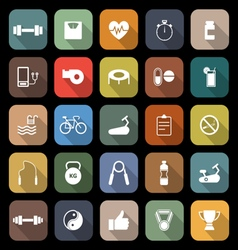 Fitness flat icons with long shadow vector
