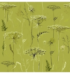 Green seamless vintage pattern with herbs and vector