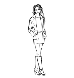 woman in jacket dress and boots vector image