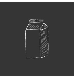 Packaged dairy product drawn in chalk icon vector