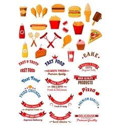 Fast food dishes and drinks icons for cafe design vector image