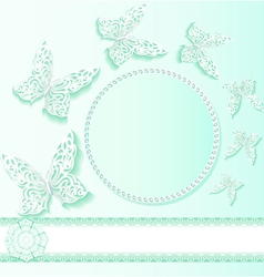 background card with flower lace vector image vector image