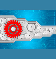 Background with gears and circuit abstract vector