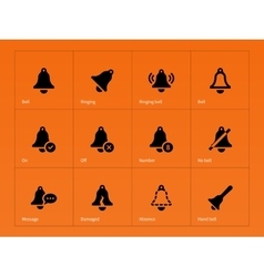 Bell icons on orange background vector image
