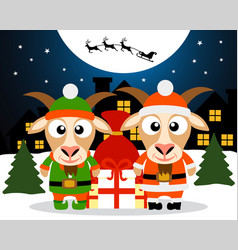christmas card with goat santa claus and goat elf vector image vector image