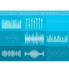 Dj sound waves set white transperant color vector