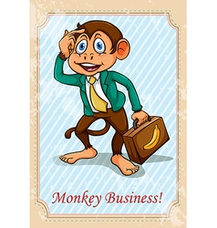 English idiom monkey business vector