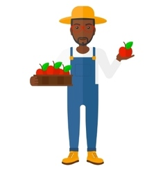 Farmer collecting apples vector image vector image