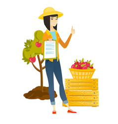 Farmer with clipboard giving thumb up vector