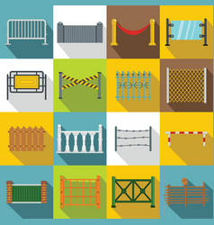 Fencing icons set flat style vector