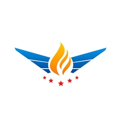 fire wing abstract star logo vector image vector image