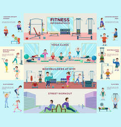 Flat fitness infographic concept vector