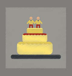 Flat shading style icon gay wedding cake vector
