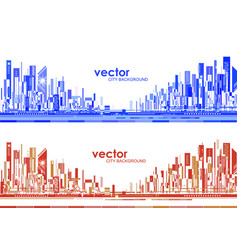 Futuristic city skylines at day and night vector
